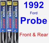 Front & Rear Wiper Blade Pack for 1992 Ford Probe - Vision Saver