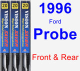 Front & Rear Wiper Blade Pack for 1996 Ford Probe - Vision Saver