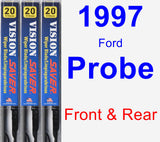 Front & Rear Wiper Blade Pack for 1997 Ford Probe - Vision Saver