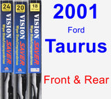 Front & Rear Wiper Blade Pack for 2001 Ford Taurus - Vision Saver