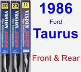 Front & Rear Wiper Blade Pack for 1986 Ford Taurus - Vision Saver