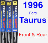 Front & Rear Wiper Blade Pack for 1996 Ford Taurus - Vision Saver
