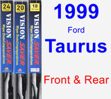 Front & Rear Wiper Blade Pack for 1999 Ford Taurus - Vision Saver