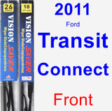 Front Wiper Blade Pack for 2011 Ford Transit Connect - Vision Saver