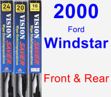 Front & Rear Wiper Blade Pack for 2000 Ford Windstar - Vision Saver