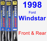 Front & Rear Wiper Blade Pack for 1998 Ford Windstar - Vision Saver