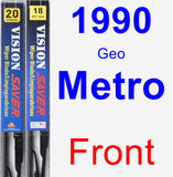 Front Wiper Blade Pack for 1990 Geo Metro - Vision Saver