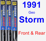 Front & Rear Wiper Blade Pack for 1991 Geo Storm - Vision Saver