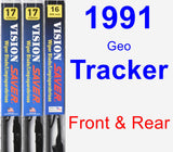 Front & Rear Wiper Blade Pack for 1991 Geo Tracker - Vision Saver