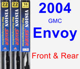 Front & Rear Wiper Blade Pack for 2004 GMC Envoy - Vision Saver
