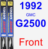 Front Wiper Blade Pack for 1992 GMC G2500 - Vision Saver