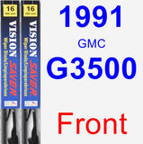 Front Wiper Blade Pack for 1991 GMC G3500 - Vision Saver