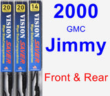 Front & Rear Wiper Blade Pack for 2000 GMC Jimmy - Vision Saver