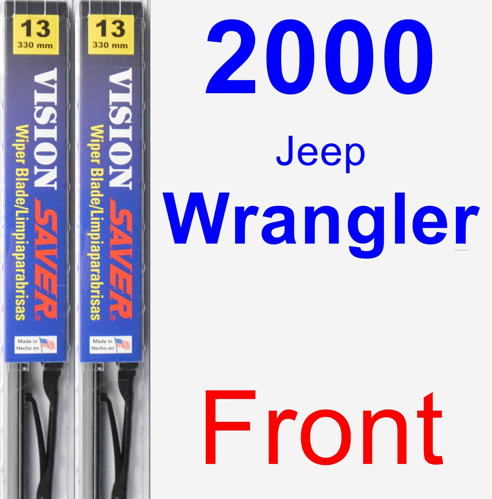 Front Wiper Blade Pack for 2000 Jeep Wrangler - Vision Saver
