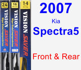 Front & Rear Wiper Blade Pack for 2007 Kia Spectra5 - Vision Saver