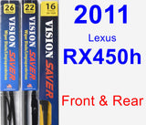 Front & Rear Wiper Blade Pack for 2011 Lexus RX450h - Vision Saver