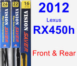 Front & Rear Wiper Blade Pack for 2012 Lexus RX450h - Vision Saver
