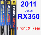Front & Rear Wiper Blade Pack for 2011 Lexus RX350 - Vision Saver