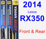 Front & Rear Wiper Blade Pack for 2014 Lexus RX350 - Vision Saver