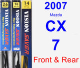 Front & Rear Wiper Blade Pack for 2007 Mazda CX-7 - Vision Saver
