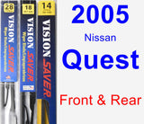 Front & Rear Wiper Blade Pack for 2005 Nissan Quest - Vision Saver