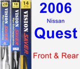 Front & Rear Wiper Blade Pack for 2006 Nissan Quest - Vision Saver