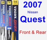 Front & Rear Wiper Blade Pack for 2007 Nissan Quest - Vision Saver