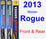 Front & Rear Wiper Blade Pack for 2013 Nissan Rogue - Vision Saver