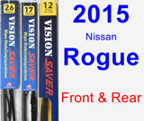 Front & Rear Wiper Blade Pack for 2015 Nissan Rogue - Vision Saver