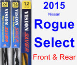 Front & Rear Wiper Blade Pack for 2015 Nissan Rogue Select - Vision Saver