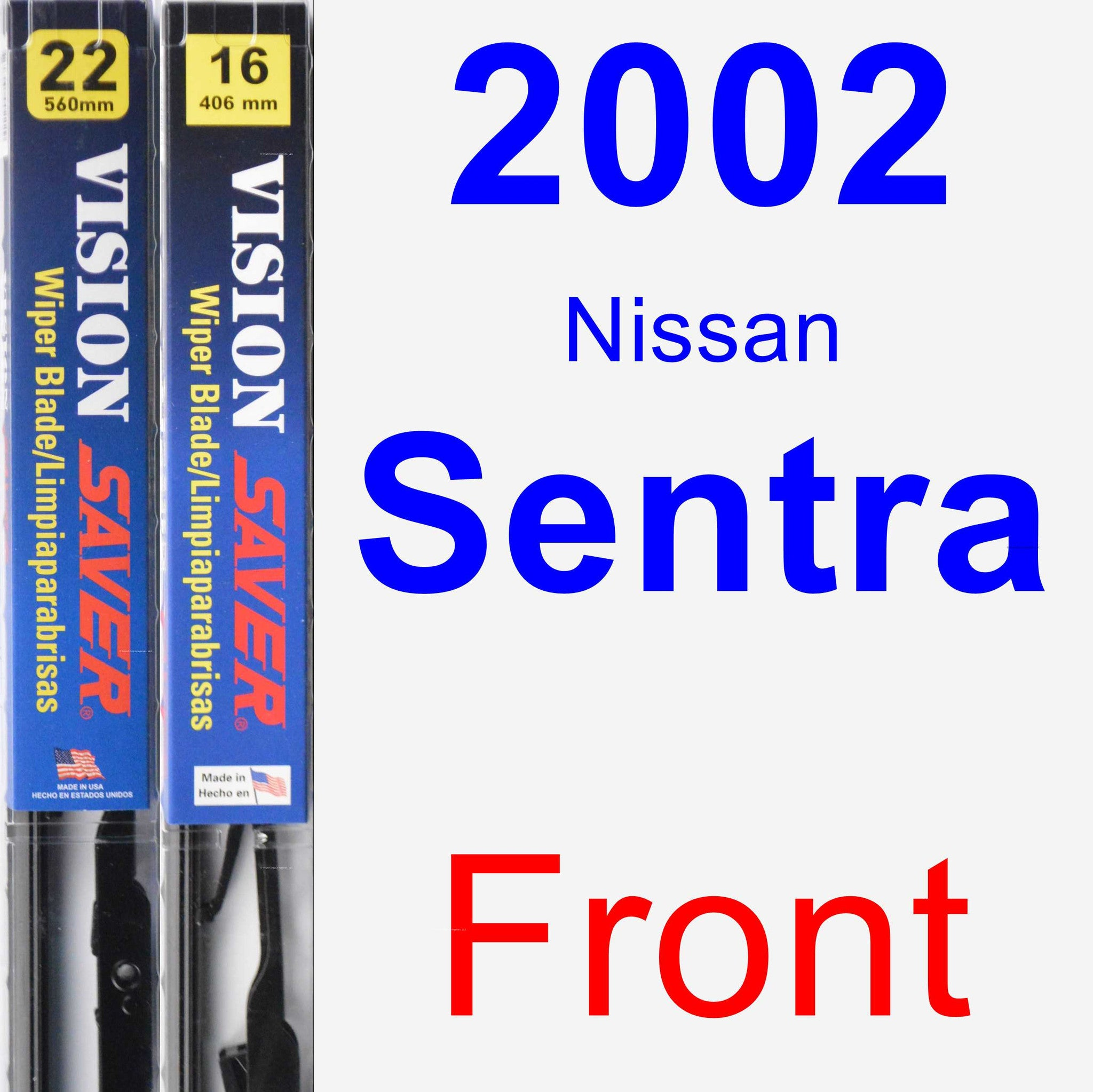 Front Wiper Blade Pack for 2002 Nissan Sentra - Vision Saver