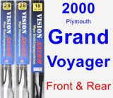 Front & Rear Wiper Blade Pack for 2000 Plymouth Grand Voyager - Vision Saver