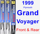 Front & Rear Wiper Blade Pack for 1999 Plymouth Grand Voyager - Vision Saver