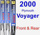 Front & Rear Wiper Blade Pack for 2000 Plymouth Voyager - Vision Saver