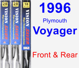Front & Rear Wiper Blade Pack for 1996 Plymouth Voyager - Vision Saver