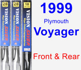 Front & Rear Wiper Blade Pack for 1999 Plymouth Voyager - Vision Saver