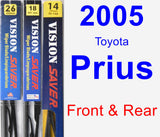 Front & Rear Wiper Blade Pack for 2005 Toyota Prius - Vision Saver