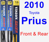 Front & Rear Wiper Blade Pack for 2010 Toyota Prius - Vision Saver