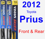 Front & Rear Wiper Blade Pack for 2012 Toyota Prius - Vision Saver