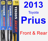 Front & Rear Wiper Blade Pack for 2013 Toyota Prius - Vision Saver