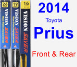 Front & Rear Wiper Blade Pack for 2014 Toyota Prius - Vision Saver