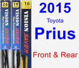 Front & Rear Wiper Blade Pack for 2015 Toyota Prius - Vision Saver