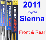 Front & Rear Wiper Blade Pack for 2011 Toyota Sienna - Vision Saver