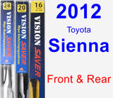 Front & Rear Wiper Blade Pack for 2012 Toyota Sienna - Vision Saver