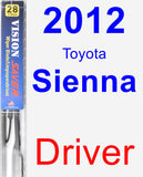 Driver Wiper Blade for 2012 Toyota Sienna - Vision Saver