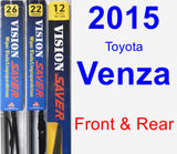 Front & Rear Wiper Blade Pack for 2015 Toyota Venza - Vision Saver