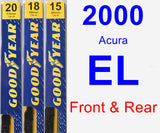 Front & Rear Wiper Blade Pack for 2000 Acura EL - Premium