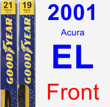 Front Wiper Blade Pack for 2001 Acura EL - Premium