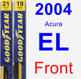 Front Wiper Blade Pack for 2004 Acura EL - Premium