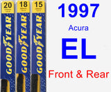 Front & Rear Wiper Blade Pack for 1997 Acura EL - Premium